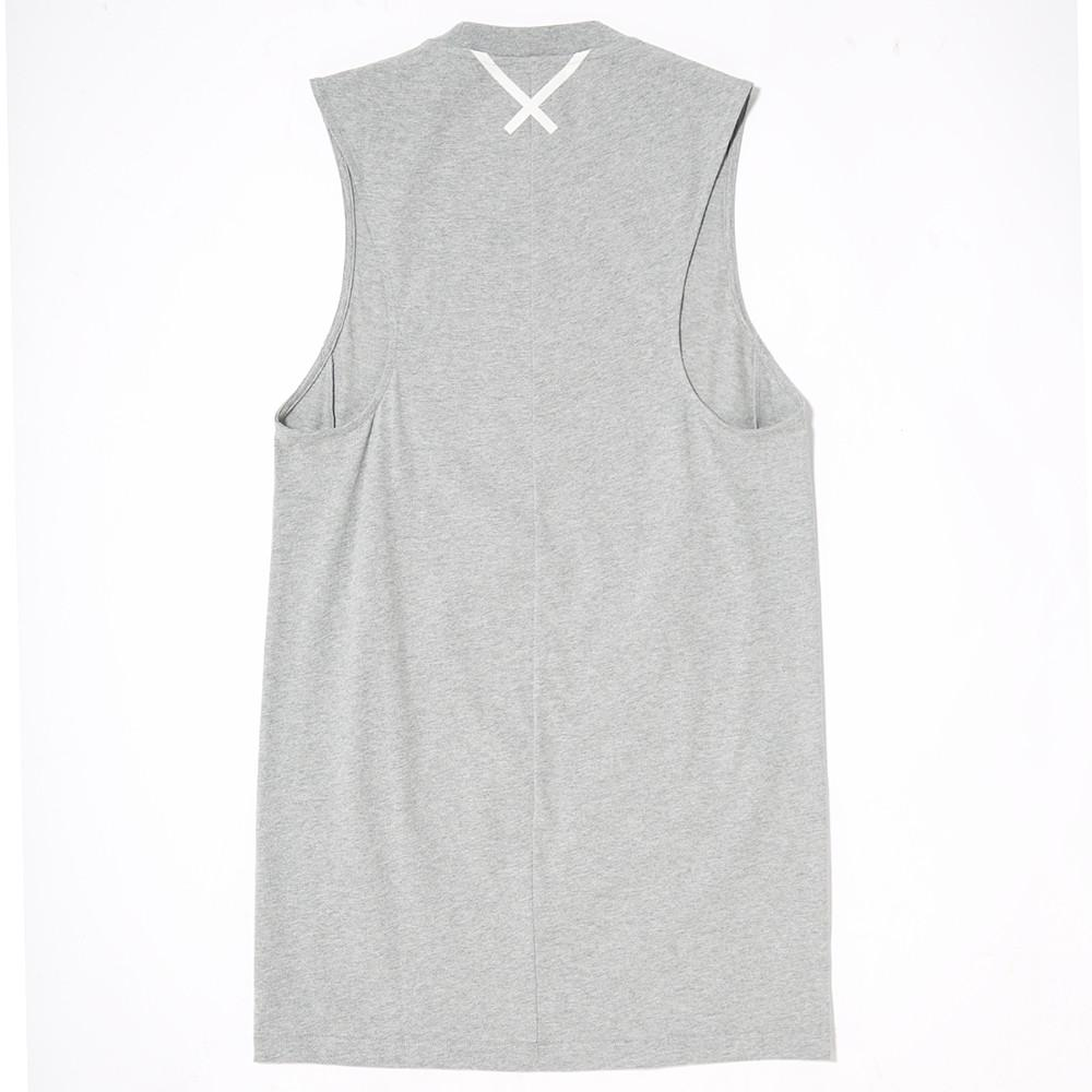 style code BK2290. ADIDAS WOMEN'S XBYO ELONGATED TANK / MEDIUM HEATHER GREY