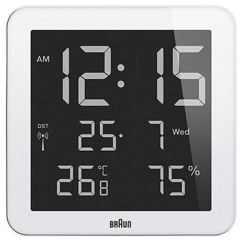 BRAUN DIGITAL LCD DISPLAY WALL CLOCK / WHITE. style code BNC014WH.