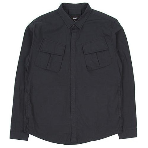 HUF BDU MILITARY RIPSTOP LS SHIRT / BLACK - 1