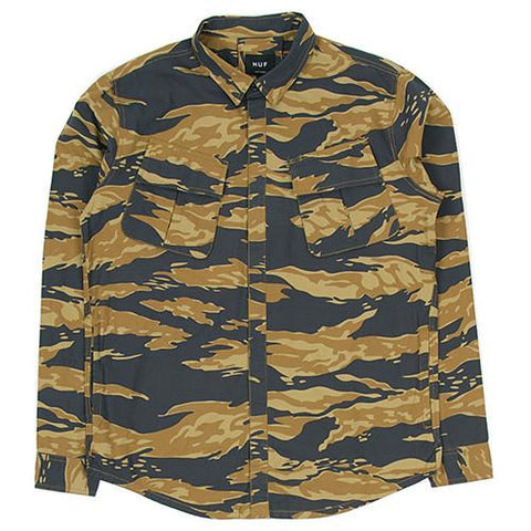 HUF BDU MILITARY RIPSTOP LS SHIRT / GOLDEN TIGER STRIPE CAMO - 1