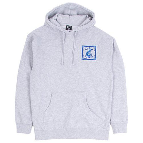 BORN X RAISED PEACOCKING PULLOVER HOODIE / HEATHER GREY - 1