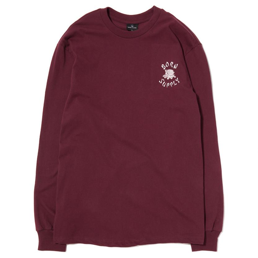 BORN X RAISED X SUPPLY LONG SLEEVE T-SHIRT / BURGUNDY - 1