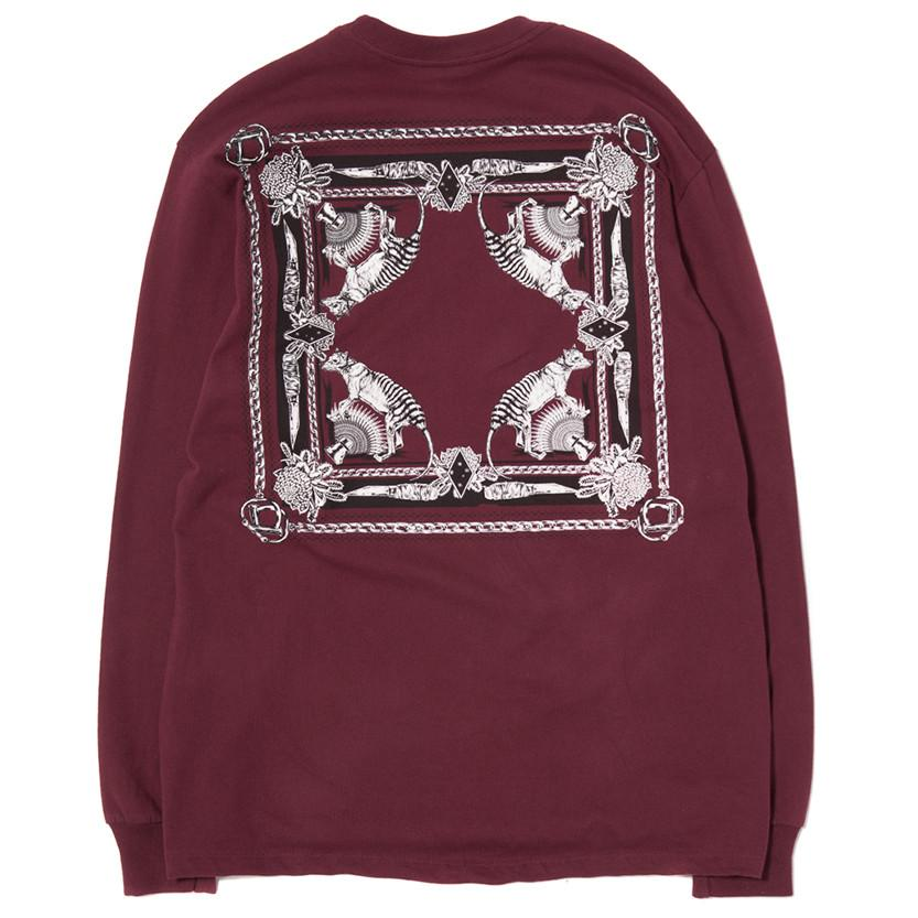 BORN X RAISED X SUPPLY LONG SLEEVE T-SHIRT / BURGUNDY - 3