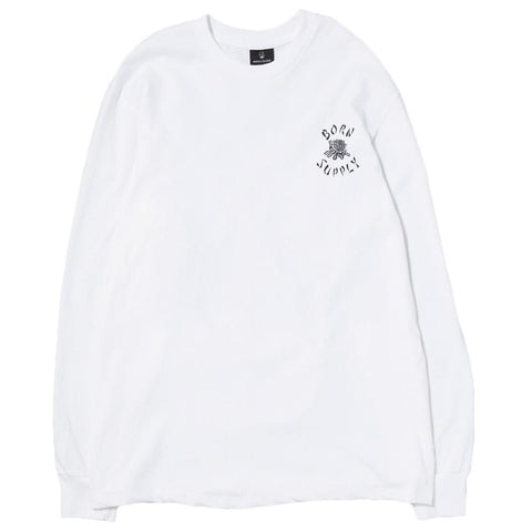 BORN X RAISED X SUPPLY LONG SLEEVE T-SHIRT / WHITE . style code BXRHOL1630
