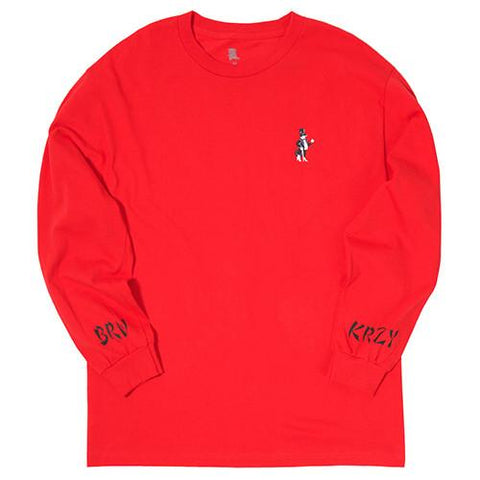 BORN X RAISED BORN X KRAZY WESTSIDE ROCKER LONG SLEEVE T-SHIRT / RED - 1