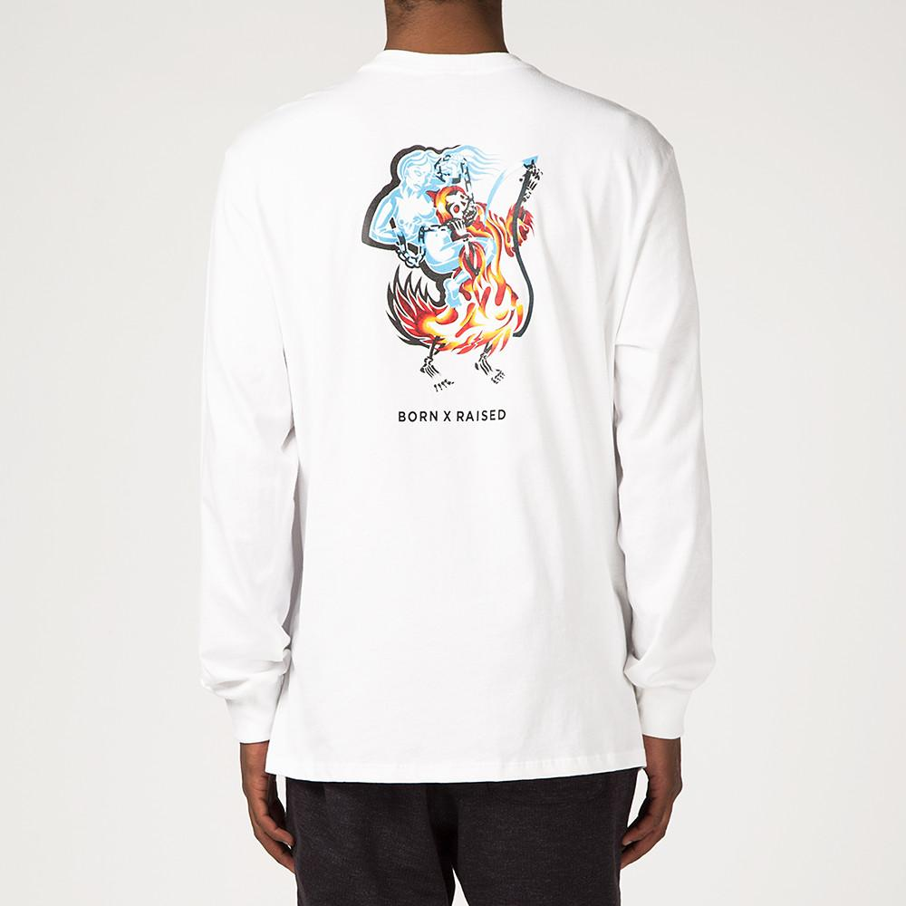 style code BXRSP17COKWHT. BORN X RAISED COCKFIGHT LS T-SHIRT / WHITE