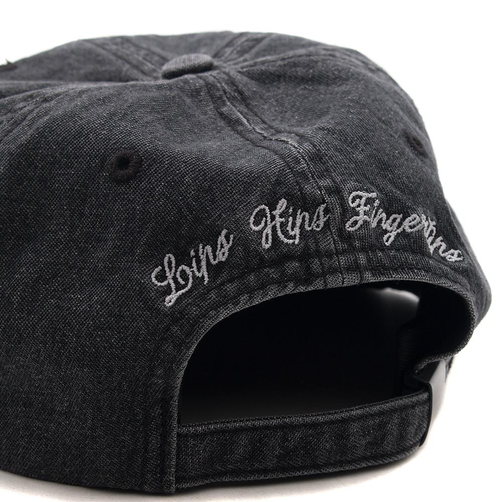 style code BXRSP17RKRBLK. BORN X RAISED DENIM ROCKER STRAP BACK / DENIM