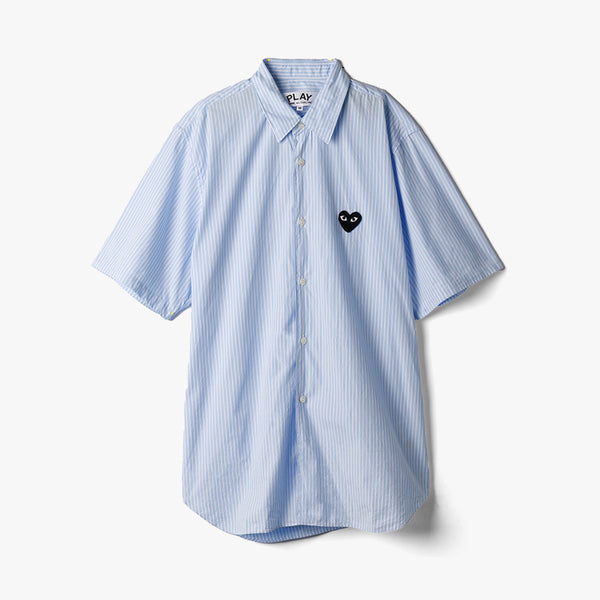 COMME des GARÇONS PLAY Black Heart Striped S/S Button Up / Blue