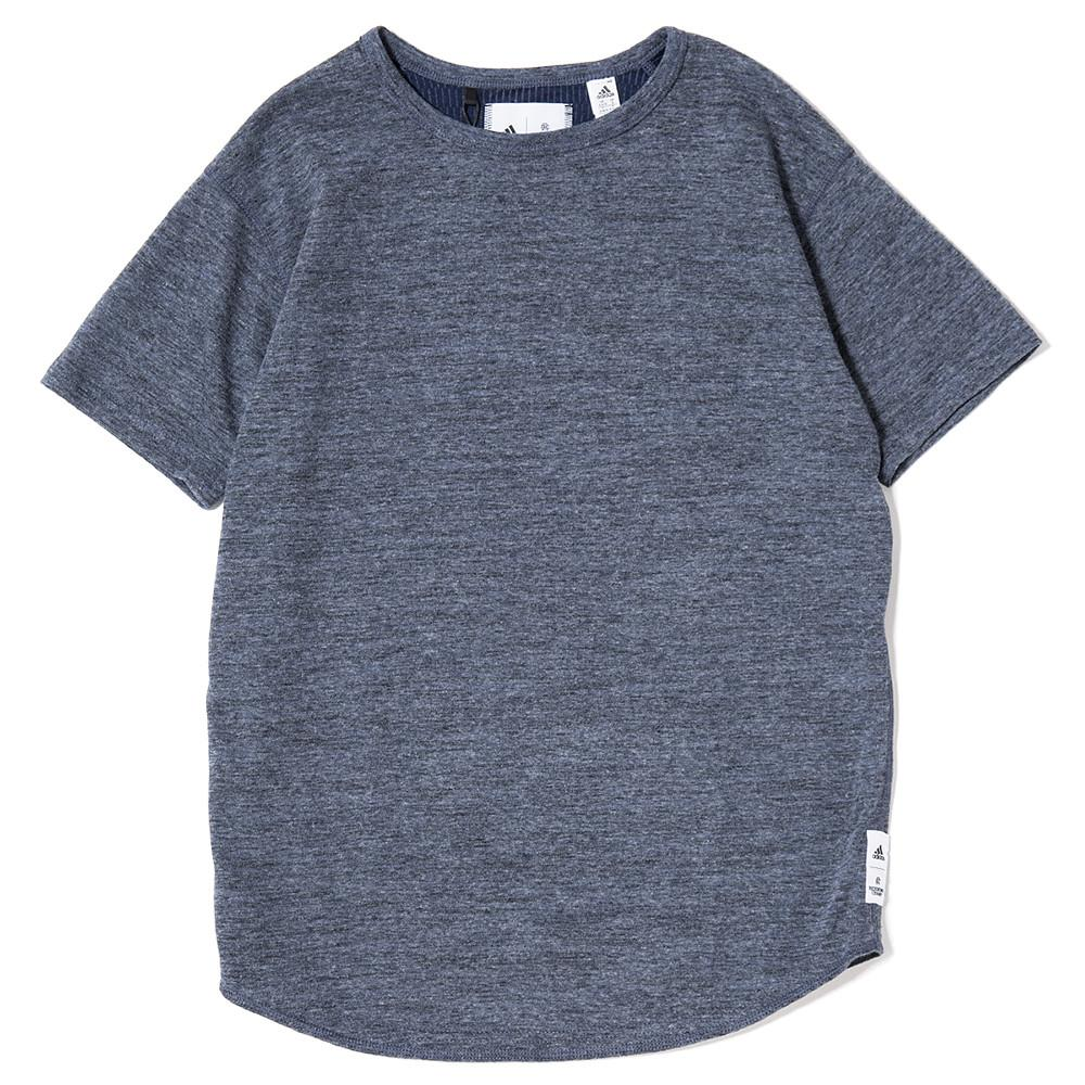 style code CE9348. ADIDAS WOMEN'S X REIGNING CHAMP SS T-SHIRT / HEATHER NAVY