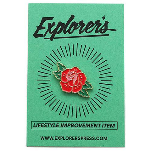 EXPLORER'S PRESS RED ROSE LAPEL PIN - 1