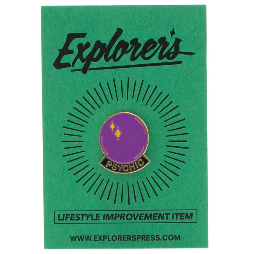 EXPLORER'S PRESS CRYSTAL BALL LAPEL PIN . style code EXP19