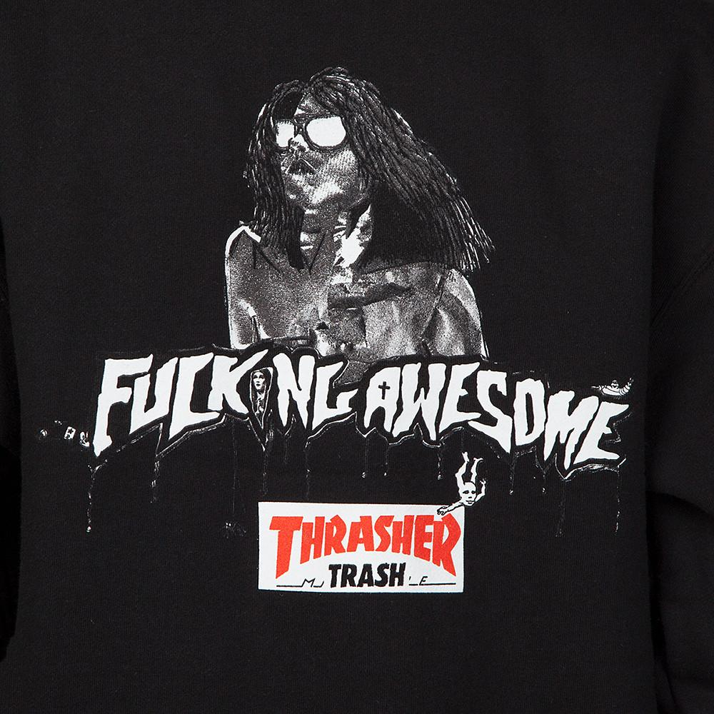 FUCKING AWESOME X THRASHER TRASH ME PULLOVER HOODIE / BLACK