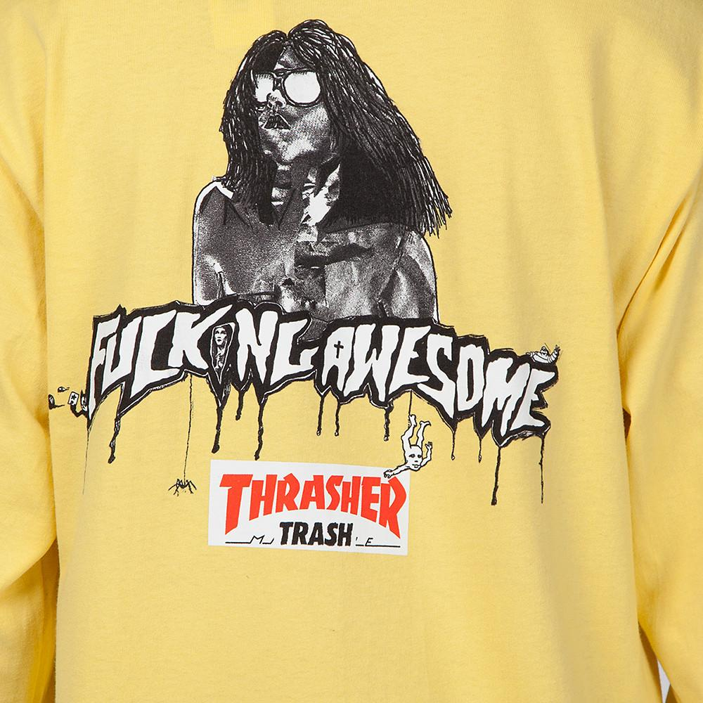 FUCKING AWESOME X THRASHER TRASH ME LONG SLEEVE T-SHIRT / YELLOW