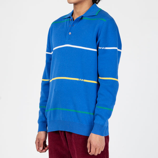 FACS002SP19D1BLU Fucking Awesome Striped Knit Rugby Jersey / Blue