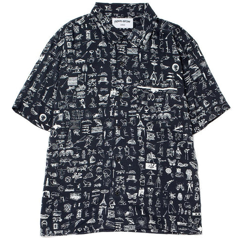 FUCKING AWESOME DICTIONARY CABANA BUTTON UP / BLACK
