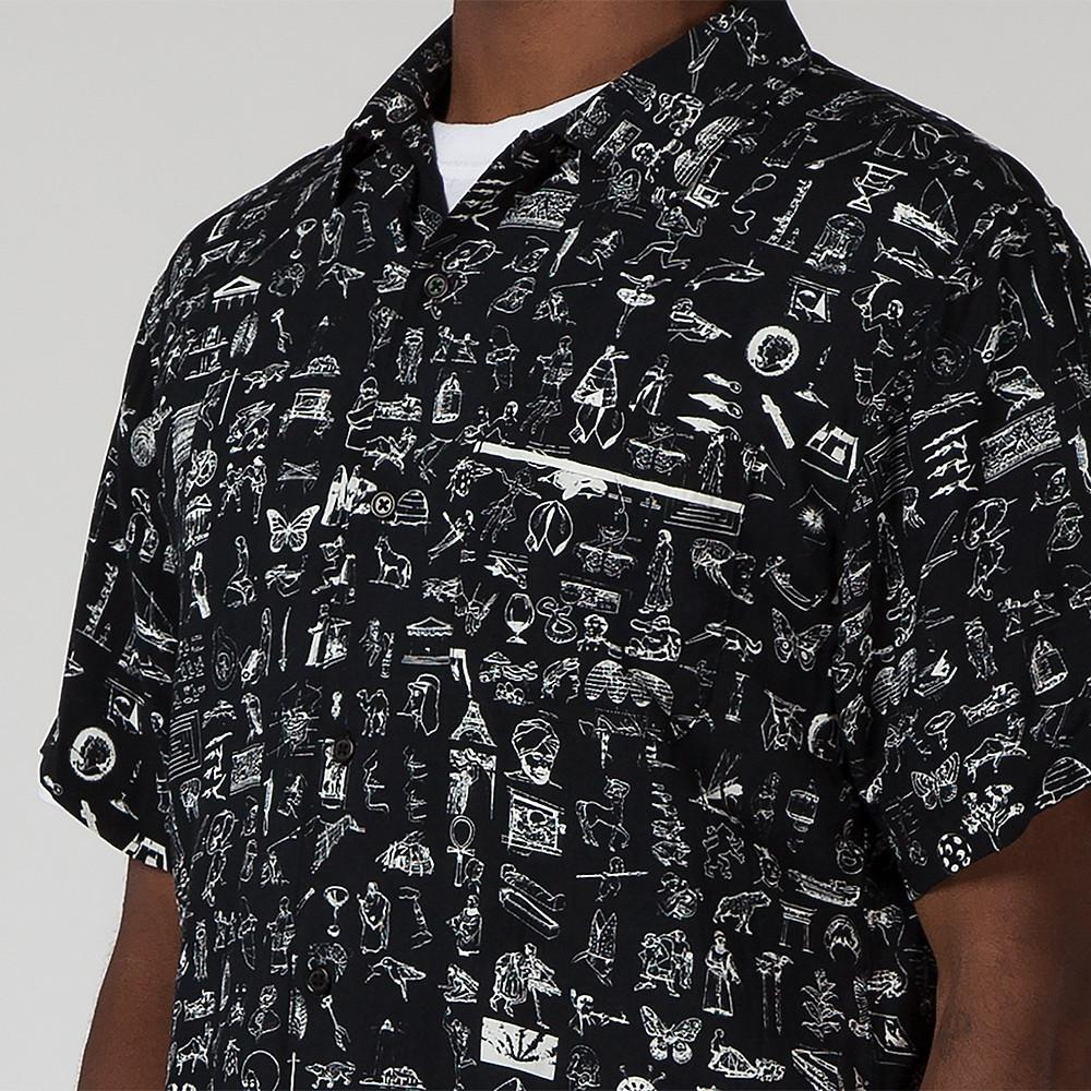 style code FASU17BU001BLK. FUCKING AWESOME DICTIONARY CABANA BUTTON UP / BLACK