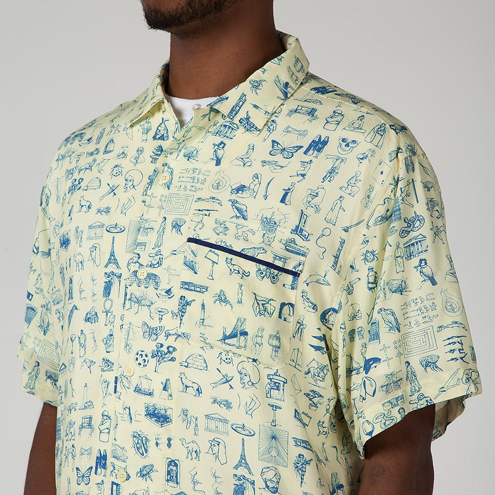 style code FASU17BU001YEL. FUCKING AWESOME DICTIONARY CABANA BUTTON UP / YELLOW
