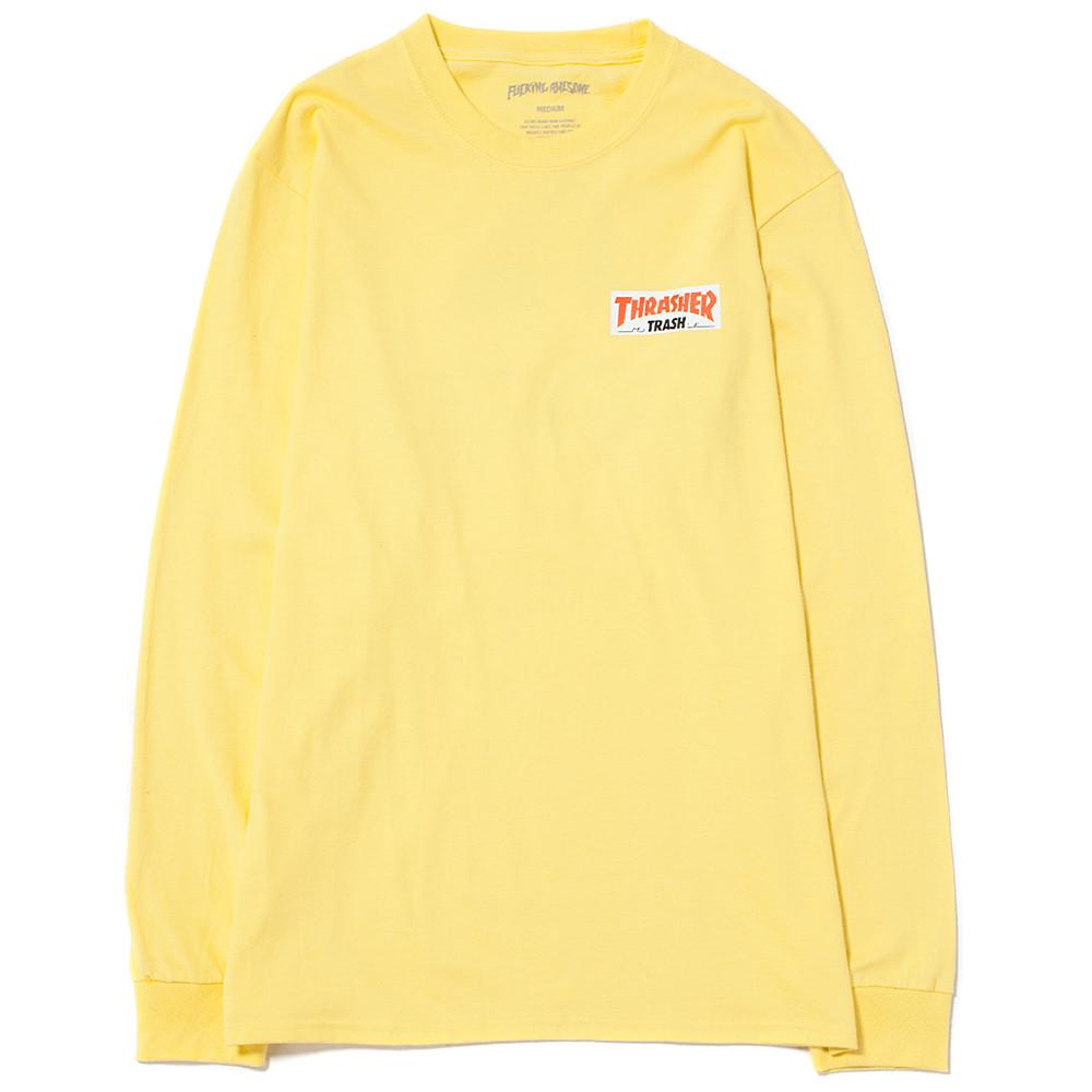 style code FATHRFA17BYEL. FUCKING AWESOME X THRASHER TRASH ME LONG SLEEVE T-SHIRT / YELLOW