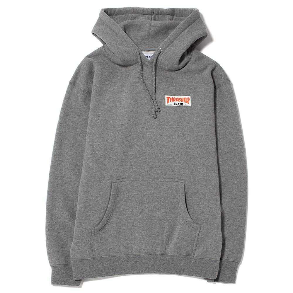 style code FATHRFA17CGRY. FUCKING AWESOME X THRASHER TRASH ME PULLOVER HOODIE / HEATHER GREY
