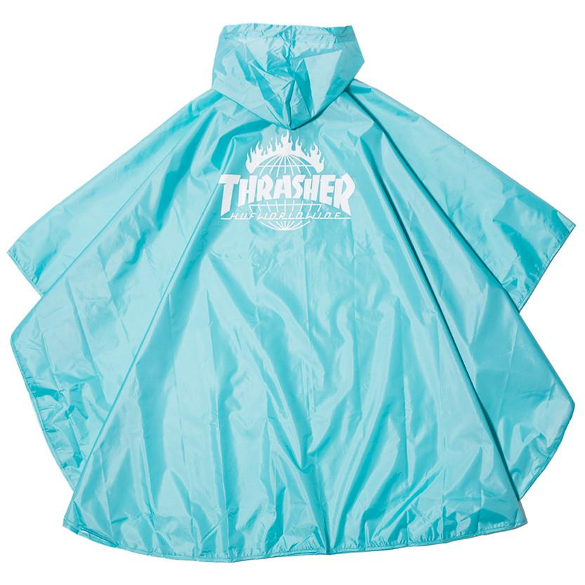 HUF X THRASHER PACKABLE RAIN PONCHO / MINT - 2