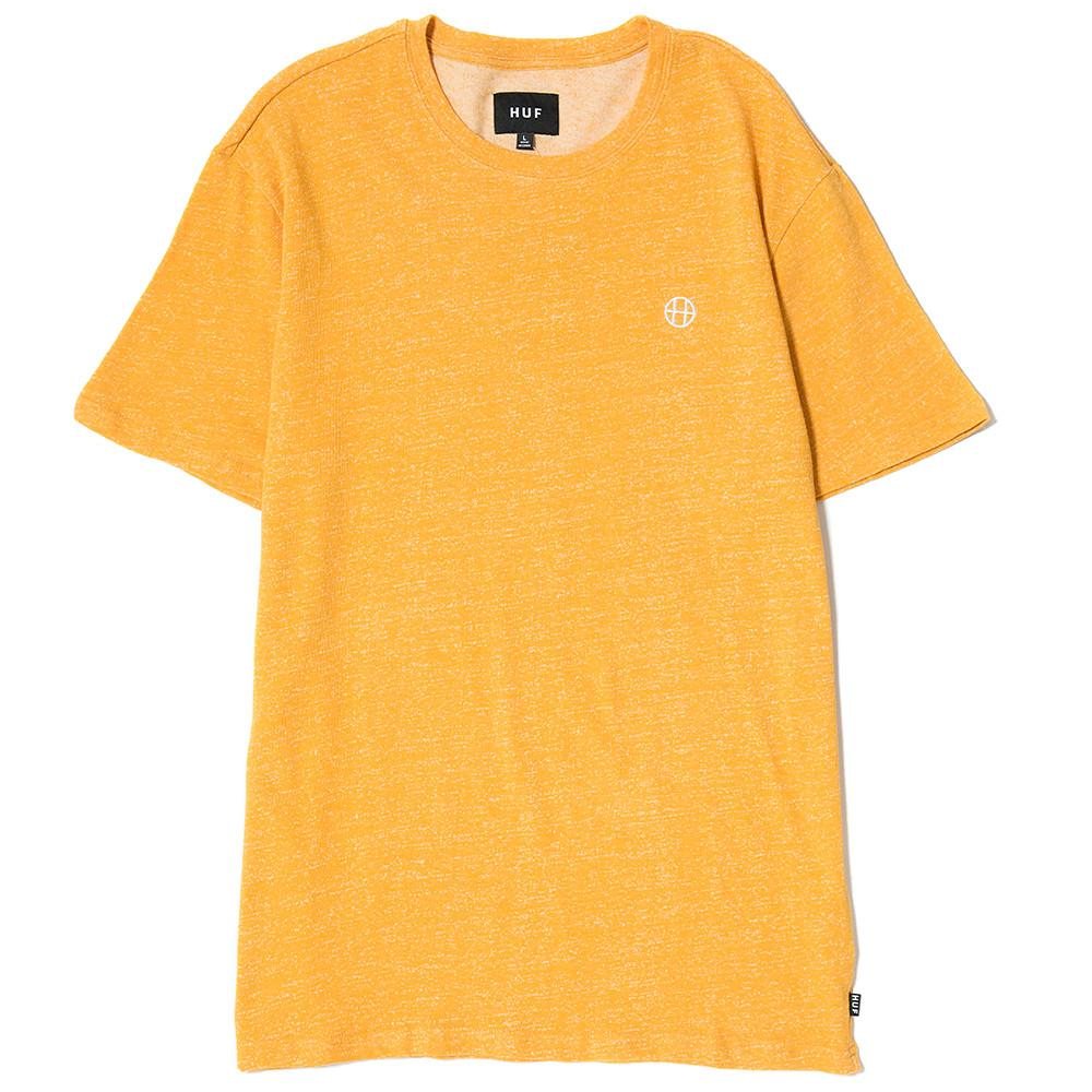 style code HUFTS00001SP17D1MUS. HUF HEATHER EMBROIDERED CIRCLE H T-SHIRT / MUSTARD