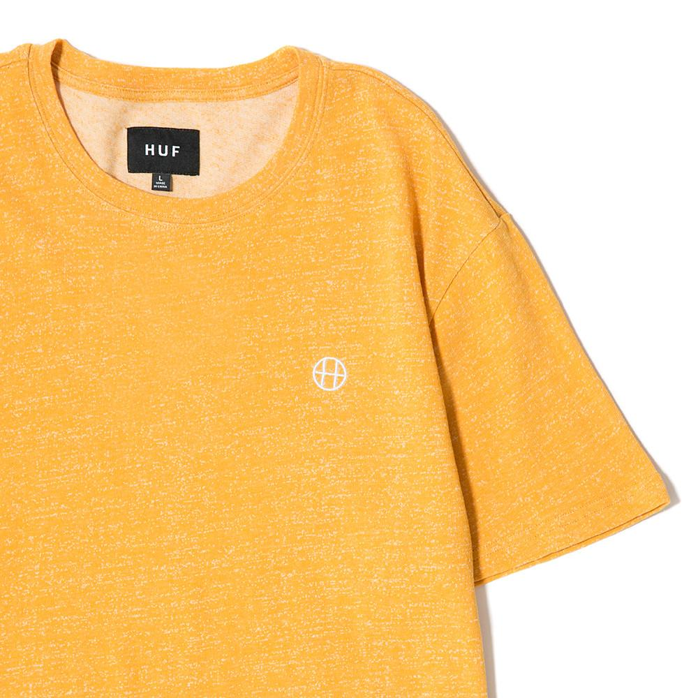 HUF HEATHER EMBROIDERED CIRCLE H T-SHIRT / MUSTARD