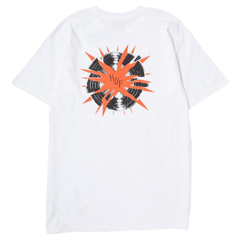 HUF BROKEN RECORD T-SHIRT / WHITE