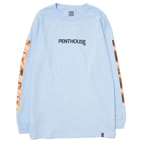 HUF X PENTHOUSE PHOTO LS T-SHIRT / LIGHT BLUE - 1