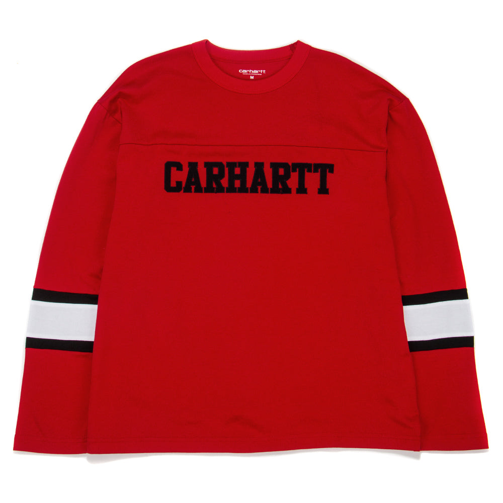 I026412 Carhartt WIP Long Sleeve Thorpe College T-shirt / Cardinal
