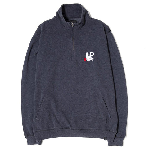 BY PARRA BIRD P 1/4 ZIP PULLOVER / NAVY BLUE