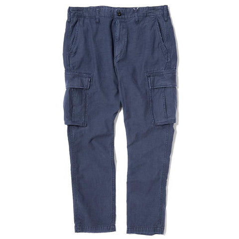 style code VFP4025. DENIM BY VANQUISH & FRAGMENT 9/10 LENGTH CARGO PANTS / NAVY