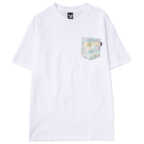 QUIET LIFE PAISLEY CORAL POCKET T-SHIRT / WHITE