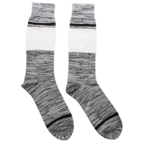 N/A SOCK TWO MID CALF LENGTH / MELANGE GREY