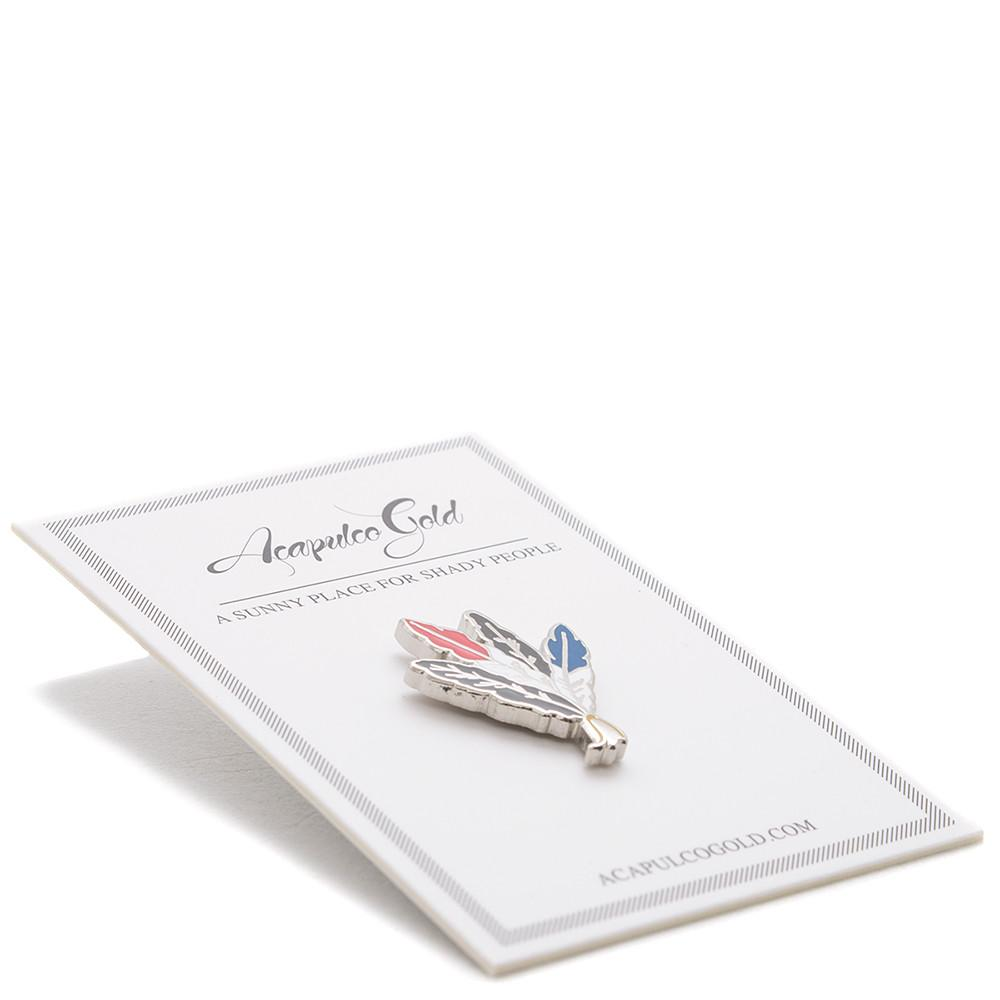 style code AGSP171031. ACAPULCO GOLD FEATHER LAPEL PIN / SILVER