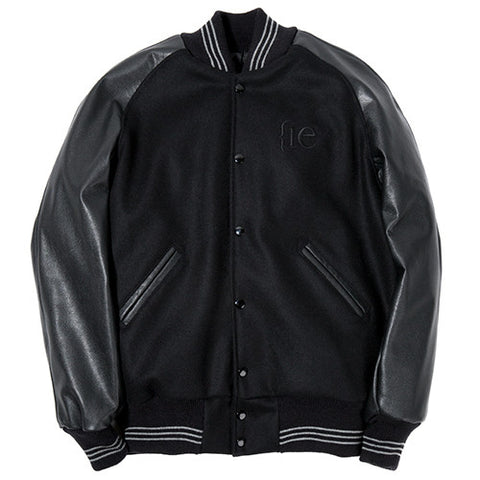 {ie LEATHER RAGLAN VARSITY JACKET / BLACK MELTON - 1