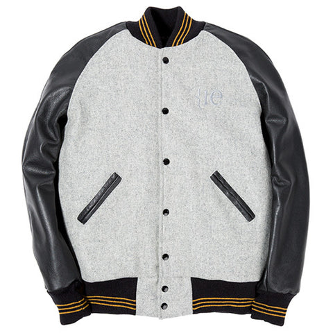 {ie LEATHER RAGLAN VARSITY JACKET / LIGHT OXFORD MELTON - 1