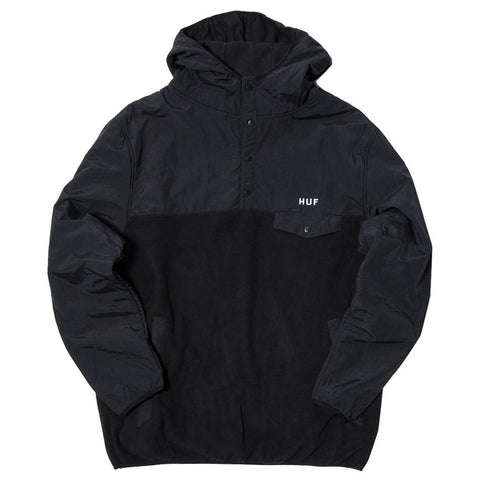 HUF TOFINO HOODED POLARTEC PULLOVER / BLACK - 1