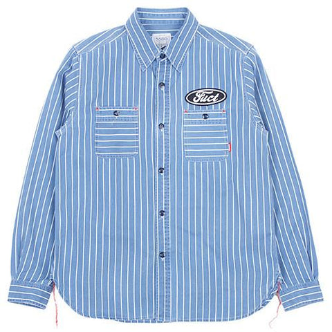 FUCT SSDD STRIPED INDIGO BUTTON UP SHIRT / HARD WASH - 1