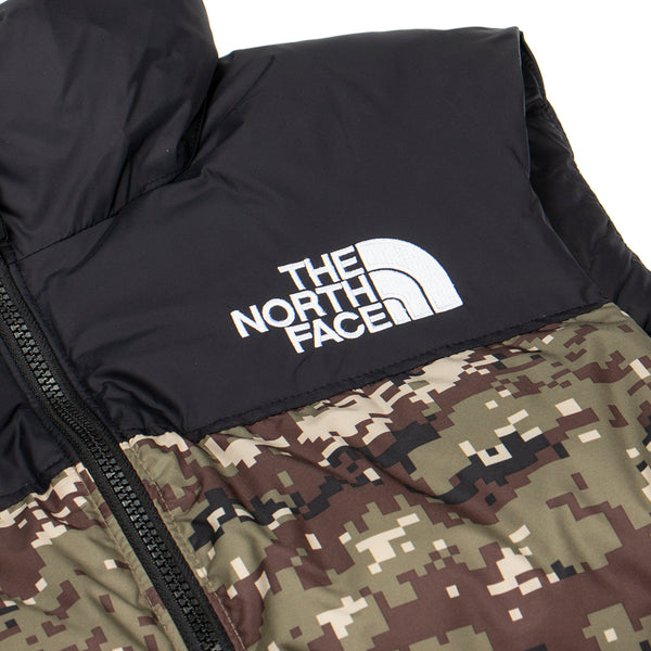 The North Face 1996 Retro Nuptse Vest / Burnt Olive Green Digi Camo