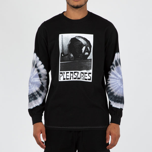 Pleasures Haircut Tie Dye Long Sleeve T-shirt / Black - Deadstock.ca