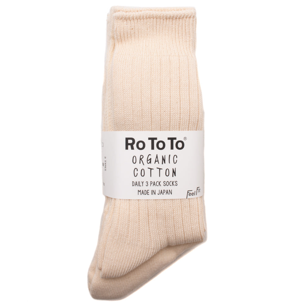 R1123 Rototo Organic Daily 3 Pack Socks / Natural