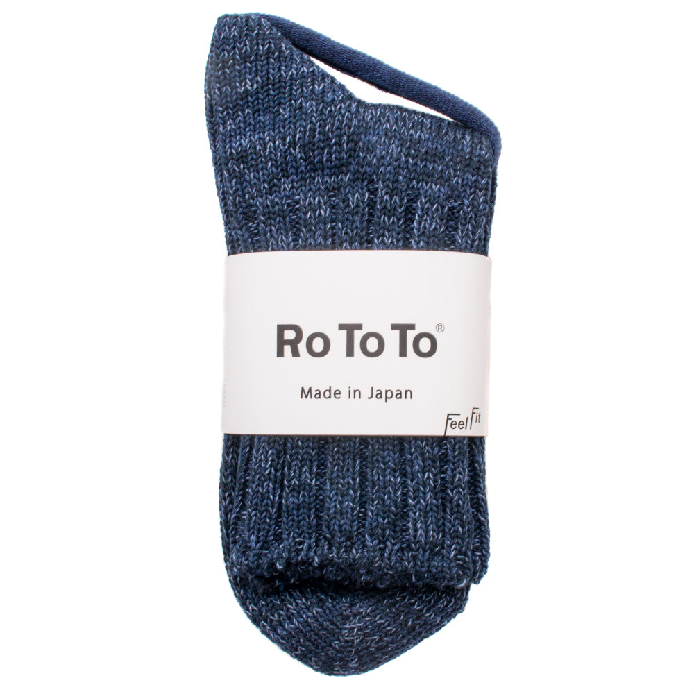 RoToTo Denim Tone Socks / Dark Denim - Deadstock.ca