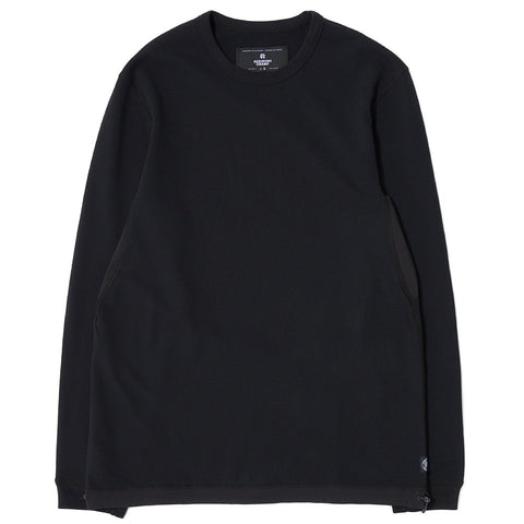 style code RC3377SS17. REIGNING CHAMP HYBRID LONG SLEEVE CREWNECK / BLACK