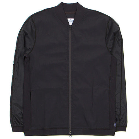 REIGNING CHAMP STRETCH RIPSTOP NYLON HYBRID VARSITY JACKET / BLACK - 1