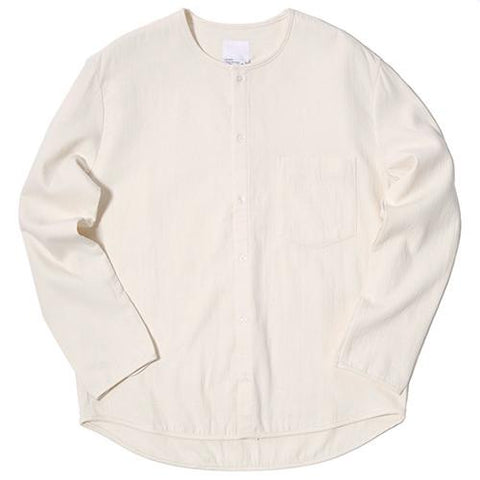 GARBSTORE BLEACHER DOUBLE JAPANESE WOVEN FABRIC BUTTON UP / NATURAL - 1