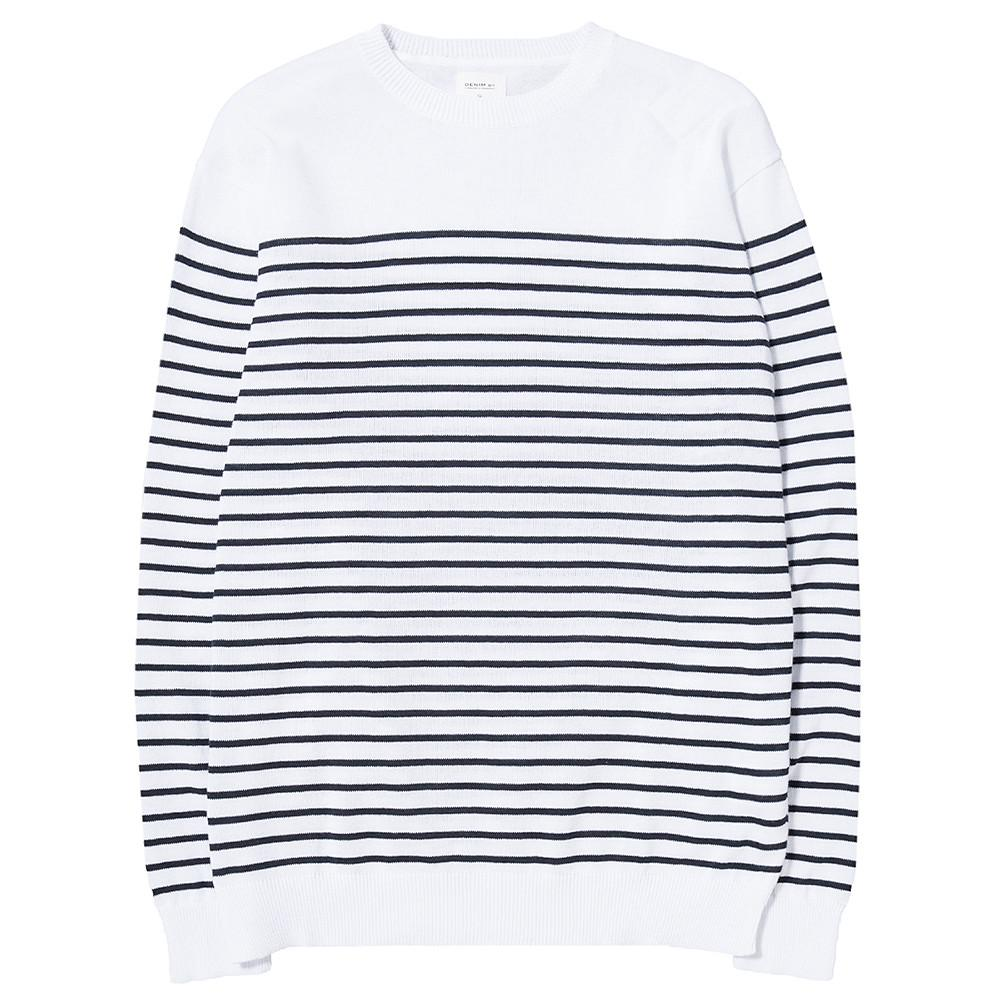style code VFC3008. DENIM BY VANQUISH & FRAGMENT STRIPED PANEL CREW NECK KNIT WHITE / BLUE