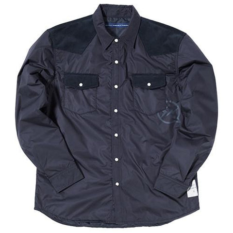 DENIM BY VANQUISH & FRAGMENT PADDED WESTERN BUTTON UP / NAVY - 1