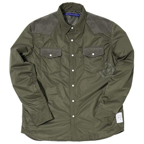 DENIM BY VANQUISH & FRAGMENT PADDED WESTERN BUTTON UP / OLIVE - 1