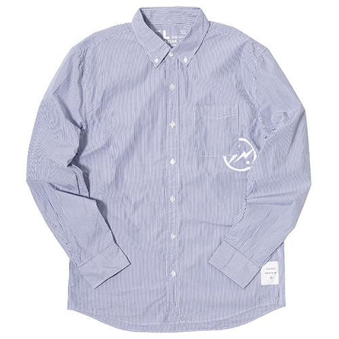 DENIM BY VANQUISH & FRAGMENT BROADCLOTH BUTTON UP SHIRT BLUE / WHITE - 1