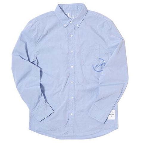 DENIM BY VANQUISH & FRAGMENT BROADCLOTH BUTTON UP SHIRT / SAXE BLUE - 1